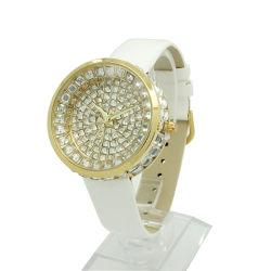 Correa de cuero de moda Candy colorido aleación con diamante de piedra de la mujer reloj de pulsera (JY-MTX2)