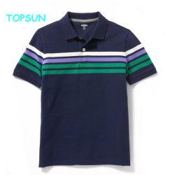 短い袖のTシャツの赤ん坊の習慣によって刺繍される服装を編む子供の縞の学生服のポロシャツの男の子の綿
