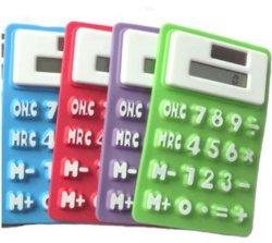 Mini portátil de bolsillo de silicona plegable calculadora solar suave