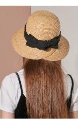 女性2のための女性夏浜の日曜日のカスタムRaffia Paper Floppyパナマ麦わら帽子