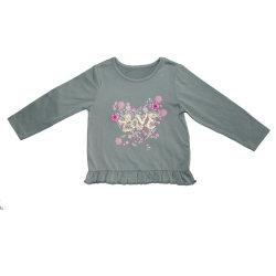 Maglietta lunga di modo del bordo e dell'elemento 3D dell'arricciamento del manicotto delle neonate