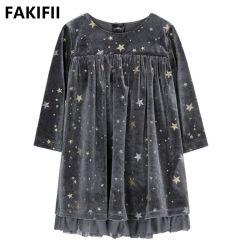 As crianças de Inverno 2021 fabricante de vestuário Kids Meninas parte de moda casual vestido de veludo cinza para Girl