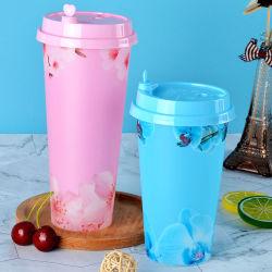2019 크리스마스 IML 16oz 500ml Bubble Tea Cup Custom Printed 밀크 티 플라스틱 커피 컵