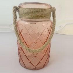 ローズの装飾的な金のガラス蝋燭ホールダーのランタン