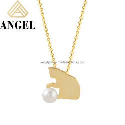 Juwelen 925 van de manier de Echte Zilveren Levering voor doorverkoop van de Fabriek van de Juwelen van de Manier van de Parel van de Tegenhanger van de Kat van Juwelen Creatieve Leuke Fijne