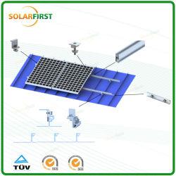 Estrutura de montagem do painel solar de alumínio no teto de estanho