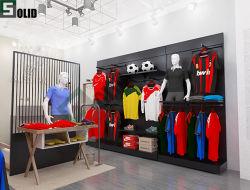 Diseño de última moda colgante pantalla tienda de ropa de Metal Metal Rack Estanterías modulares mobiliario Venta de ropa moderna