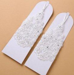 맞춤 패션 화이트 레드 끈 짧은 웨딩 신부 장갑