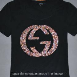 Kundenspezifischer Hotfix Rhinestone-Motiv-Firmenzeichen-Übergangsentwurf für T-Shirt