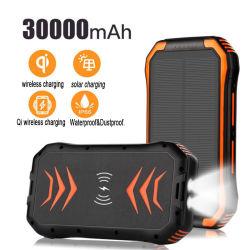 Haute capacité 30000mAh Lampe torche à LED solaire sans fil Banque d'alimentation Chargeur Téléphone Mobile pour l'Urgence SOS