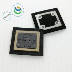 45*39mm cor duplo de moda de alta qualidade o logotipo personalizado da Placa de ligas de aço estampado etiqueta de metal/metal etiquetas para mala