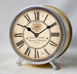 [رترو] ريفيّ حديد [تبل كلوك] معدن بيت مزرعة زخرفة مكتب حامل قفص أثر قديم ساعة