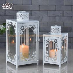 Lanterna decorativa domestica bianca della molla della lanterna della candela del metallo