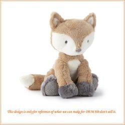 柔らかいプラシ天の動物のブラウンの白いプラシ天Foxは人形をもてあそぶ