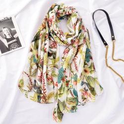 최신 판매 식물상 인쇄 형식 스카프 Fashionfa Hijiab 면 머플러를 인쇄하는 여성 숄 봄 여름 Sequins