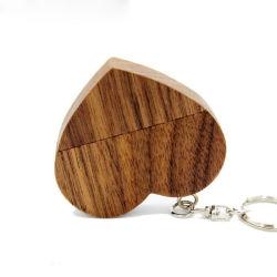 O amor de madeira Coração Unidade Flash USB corações com o chaveiro Pendrive 4 GB 8 GB de 16GB, 32GB, 64GB logotipo do cliente