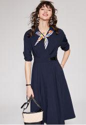 По-французски новый женский пригородных шелковые шарфы яркий шелк большой линии юбка женщин платья