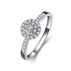 Moda Mujer personalizado anillos de diamantes de Oro Blanco 18K Anillo de Bodas Moissanite