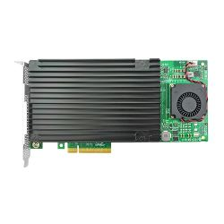 Linkreal PCI Express 3.0 x4 a Quad SSD Nvme M.2 Adaptador con el disipador de calor y ventilador de sistema de refrigeración -Nvme Pcie M.2 Tarjeta de expansión con el chipset Plx8724 para PC de escritorio