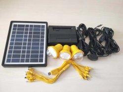 kit solare/sistema di illuminazione di mini uso domestico 5W con le lampadine 3*1W