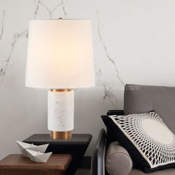 Hôtel LED de lecture décoratifs lampe de table en marbre avec du tissu abat-jour Zf-Cl-014