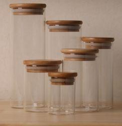 Vidrio de borosilicato de alta Jar de almacenamiento de alimentos con bambú Top