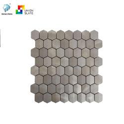 Aço inoxidável sextavada mosaico escovado metálico prateado escovado lado a lado