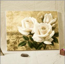 Pittura a olio del fiore della Rosa con tela di canapa incorniciata DIY Handmade da Numbers per la decorazione