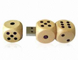 Disque dur USB 2.0 de dés en bois, utilisés comme gadget pour le client