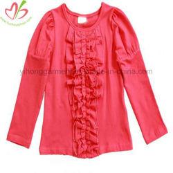 ばねまたは落下子供ピンクか赤のための長い袖のひだのワイシャツ