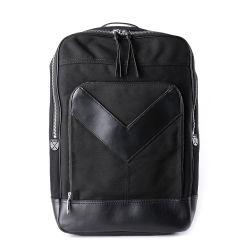 Form-neuester Entwurfs-Schwarz-Segeltuch-Mischungs-Leder-Laptop-Rucksack