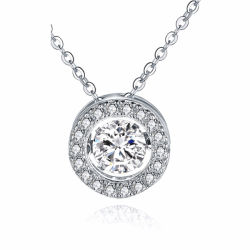 Forma redonda de plata 925 Colgantes Collar con joyas de diamantes de baile