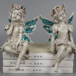 주문품 정원 장식 2 당나귀 수지 요전같은 가장자리 앉는 소녀 천사 동상