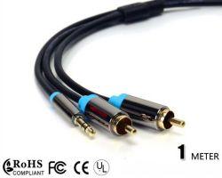 2RCA estéreo macho para cabo de vídeo de áudio de 3,5mm cabo Y