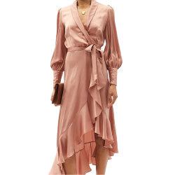 패션 타이 허리에 러플 여성용 긴팔 이브닝 드레스
