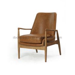 Mobiliário moderno em madeira maciça com estofos em pele genuína Pernas Carvalho Accent Cadeira Cadeira de jantar