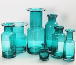 Decoram Fresco Pastoral americana Embeleze vaso de vidro azul arranjo floral seca de plantas por vaso garrafa de vidro com forma de todos os tipos