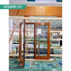 중국 공장 북아메리카 목제 클래딩 알루미늄 여닫이 창 문 외부 유리제 문 발코니 안뜰 문