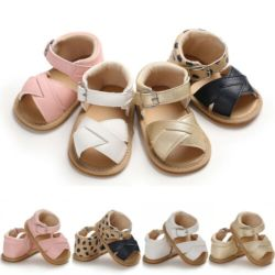 الصيف طفل طفلة طفلة صبى ساندالز قبل المشي جلد لحديثي الولادة ناعم أحذية سرير للأطفال