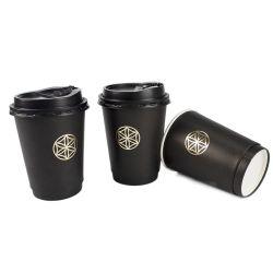 Tazza di carta da caffè monouso a parete doppia con coperchio