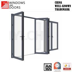 Kundengerechte Qualitäts-thermischer Bruch-Aluminium-/AluminiumWooden/PVC hölzernes Glas/glasig-glänzendes Bi-Falten/Innenraum-/Badezimmer-/Raum-Einstiegstür schiebend
