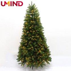 Xo2026m 240cm de hoja de mezcla de lujo de Navidad árbol decorativo con cálidas luces LED para exteriores navidad artificial árbol decorativo