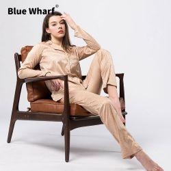 레오파드의 커스텀 새틴 실크 2피스 롱 여성 Femme Home Button Winter Autumn Designer Luxury 파자마