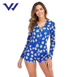 Diseño de impresión Venta caliente sexy mujer dormir dormir Romper Mujer Pijama Party el desgaste