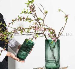 Comercio al por mayor de los países nórdicos tubo vertical transparente simple y moderno salón Mesa Comedor Jarrón de flores ornamentos decorativos florero de vidrio