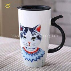 600ml de cerâmica de Grande Capacidade para preparar chá e café Retro Cat Cup com tampa de 600ml caneca da China