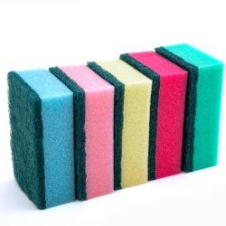 Eco Friendly tampons à récurer laveur de vaisselle de cuisine éponge de nettoyage avec du polyester