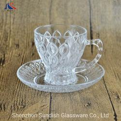 Boire du thé personnalisé défini la cuvette de verre clair avec support de plaque