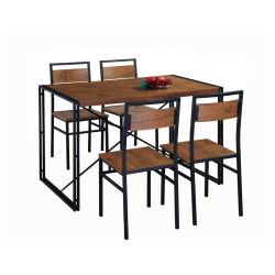 Unihomes Küche u. Speisetisch stellten 1 Stuhl-rustikale industrielle Art Brown des Abendtisch-4 für Wohnzimmer-Möbel ein
