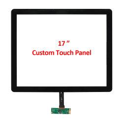 Produtos OEM personalizados 17 polegadas multitoque capacitivo ODM 4: 3 Sensor do filme com tela de toque fácil de limpar vidro moldura fina i2c Interface USB para colagem de óptica de ar módulo LCD